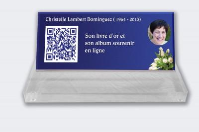 Plaque funéraire personnalisable en ligne : Petite plaque funéraire QR Code - Fond bleu Tulipes blanches