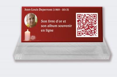 Plaque funéraire personnalisable en ligne : Petite plaque funéraire QR Code - Bougie sur fond rouge