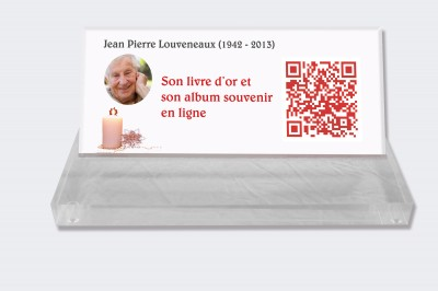Plaque funéraire personnalisable en ligne : Petite plaque funéraire QR Code - Bougie sur fond blanc