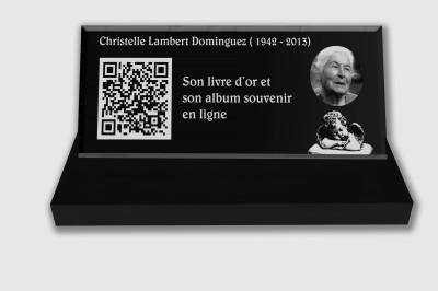 Plaque funéraire personnalisable en ligne : Petite plaque funéraire QR Code - Ange fond noir et blanc