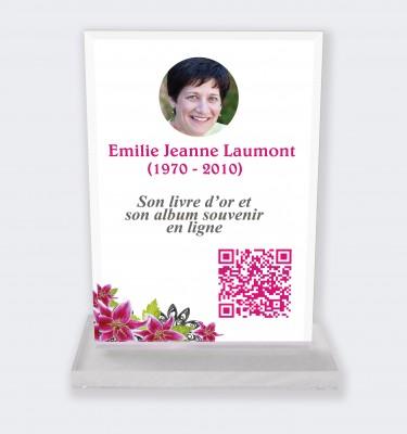Plaque funéraire personnalisable en ligne : Grande plaque funéraire QR Code - Hibiscus fond blanc