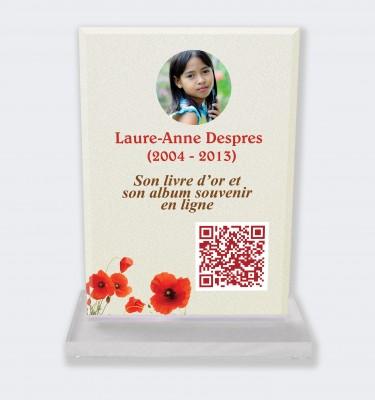 Plaque funéraire personnalisable en ligne : Grande plaque funéraire QR Code - Coquelicots fond clair
