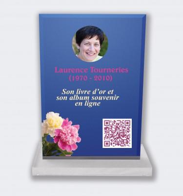 Plaque funéraire personnalisable en ligne : Grande plaque funéraire QR Code - Fleurs des champs fond bleu