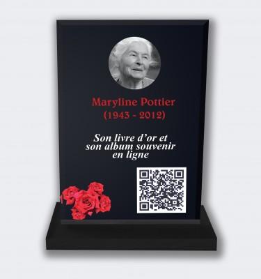 Plaque funéraire personnalisable en ligne : Grande plaque funéraire QR Code - Roses rouges fond noir